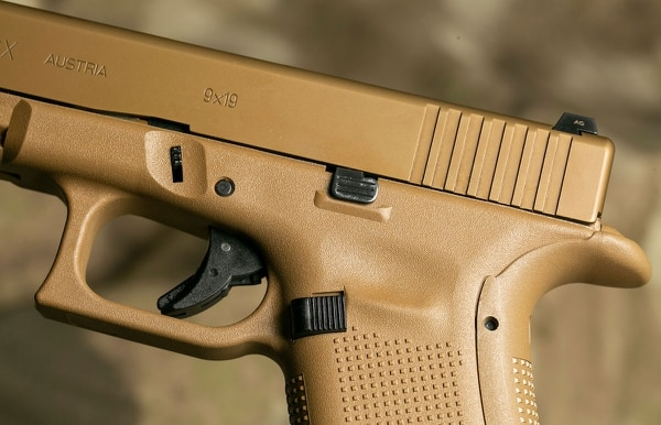 The 19X includes all of the refined components of Glock's higher-end models, including a weather-resistant nPVD coating on the metal parts, night sights, an ambi slide stop lever and Glock's Marksman Barrel with polygonal rifling. (Photo: Military Times)