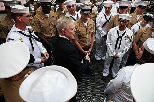 Secretary of the Navy Ray Mabus talks to a group of Marines and sailors during Fleet Week New York in Times Square, May 26, 2016. The Marines and sailors are visiting the city to interact with the public, demonstrate capabilities and teach the people of New York about America's sea services. (U.S. Marine Corps photo by Lance Cpl. Warren Smith/Released)