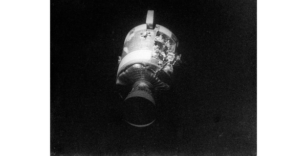This view of the severely damaged Apollo 13 Service Module was photographed from the Lunar Module/Command Module following SM jettisoning. (NASA)