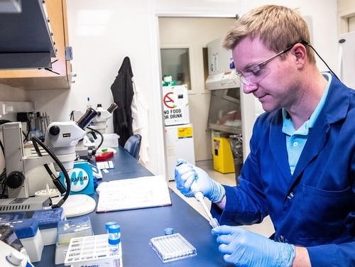 Dr. Matthew Coppock, Army chemist and team leader, is part of a group working on an air sensor that could detect COVID-19. (Army)