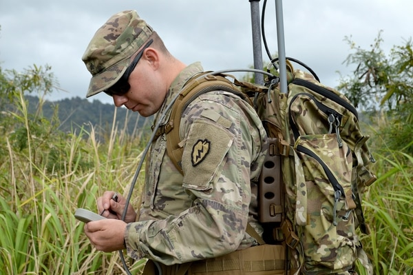 Sgt. Jessie Albert, an electronic warfare specialist, trains on the Wolfhound Radio Direction Finding System at Schofield Barracks, Hawaii, on April 11, 2018. The electronic warfare specialists use direction finding to gain a line of bearing to the target. (Staff Sgt. Armando R. Limon/U.S. Army)