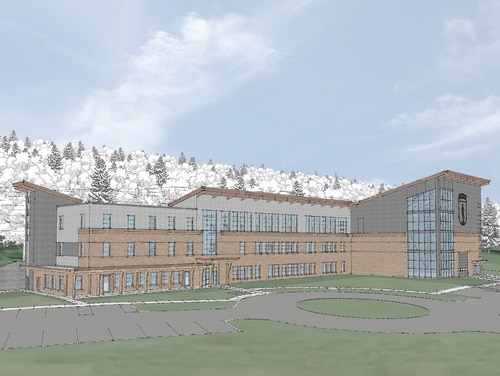 A rendition depicts the design of the $27 million Army Mountain Warfare School, which broke ground Nov. 5, 2020, at the Camp Ethan Allen Training Site in Jericho, Vt. The facility is scheduled be complete in April 2022. (Vermont National Guard)