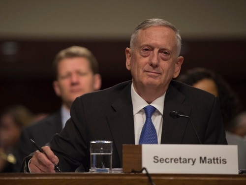 Defense Secretary Jim Mattis provides testimony on the Fiscal Year 2018 National Defense Authorization Budget Request from the Department of Defense to members of the Senate Committee on Armed Services Dirksen Senate Office Building in Washington D.C., June 13, 2017. (DOD photo by U.S. Army Sgt. Amber I. Smith)