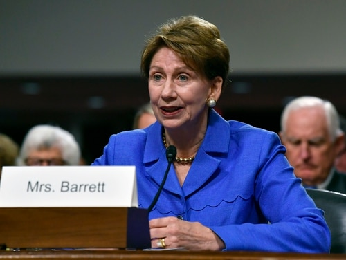 Barbara Barrett could become the first person to have a dual-hat role, as the civilian leader of the Air Force and Space Force. (Wayne Clark/U.S. Air Force)
