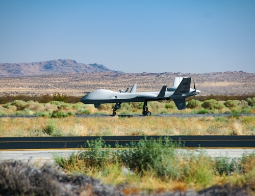 An MQ-9B SkyGuardian lands at General Atomics' facility in Gray Butte, Calif., on Aug. 16, 2017. (General Atomics)