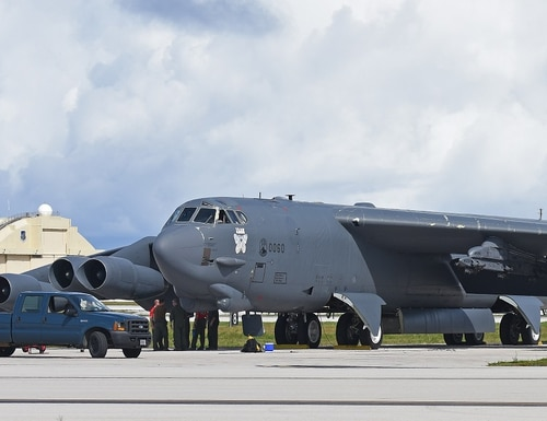 A B-52 Stratofortress from the 69th Expeditionary Bomb Squadron out of Minot Air Force Base, N.D., lands at Andersen Air Force Base, Guam, July 12. A new six-month rotation of aircrews, maintenance personnel and aircraft assigned to the 69th EBS replaced the 23rd EBS in support of the U.S. Pacific Command's continuous bomber presence mission. (Staff Sgt. Divine Cox/Air Force)