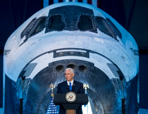 Vice President Mike Pence delivers opening remarks during the National Space Council's first meeting Oct. 5, 2017, at the Smithsonian National Air and Space Museum's Steven F. Udvar-Hazy Center in Chantilly, Va. (Joel Kowsky/NASA via AP)