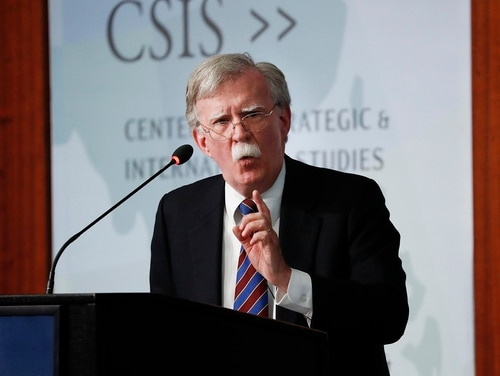 Former national security adviser John Bolton speaking at the Center for Strategic and International Studies in Washington, Monday, Sept. 30, 2019. (Pablo Martinez Monsivais/AP)
