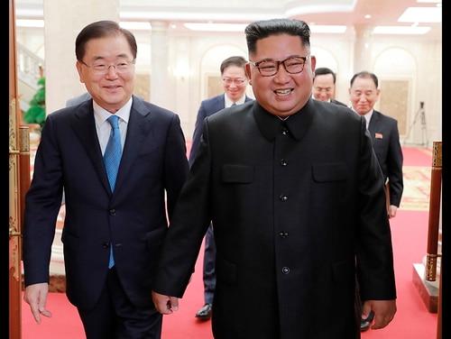 North Korean leader Kim Jong Un, right, meets with South Korean National Security Director Chung Eui-yong in Pyongyang, North Korea, on Sept. 5, 2018. (South Korea Presidential Blue House/Yonhap via AP)