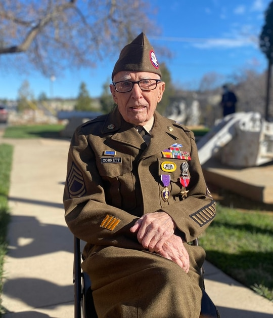 Retired Army Sgt. 1st Class Marvin Cornett received his Purple Heart and Bronze Star Feb. 22 at American Legion Post 84 in Auburn, California, 77 years after the actions that warranted the awards. (Sgt. Justin Stafford/Army)