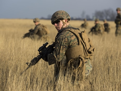 U.S. Marines with Combined Arms Company, Black Sea Rotational Force, conduct field training with Romanian and Moldovan armed forces during Platinum Lynx 16-2 at Smardan Training Area, Romania, Dec. 9, 2015. (Lance Cpl. Melanye Martinez/Marine Corps)