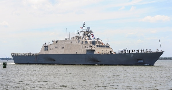 160608-N-UK306-001 JACKSONVILLE, Fla. (June 8, 2016) Freedom-variant littoral combat ship USS Milwaukee (LCS 5) transits out Naval Station Mayport after a maintenance period. (U.S. Navy photo by Mass Communication Specialist 2nd Class Timothy Schumaker/Released)