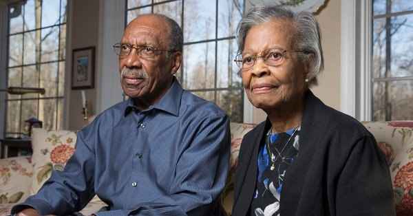 In a Jan. 19, 2018 photo, Gladys West and her husband Ira West stand in their home in King George, Va. Gladys West was part of the team that developed the Global Positioning System in the 1950s and 1960s. (Mike Morones/The Free Lance-Star via AP)