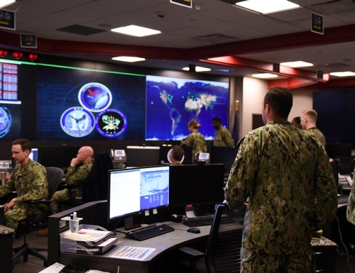Sailors stand watch in the Fleet Operations Center at the headquarters of U.S. Fleet Cyber Command/U.S. 10th Fleet (Navy)