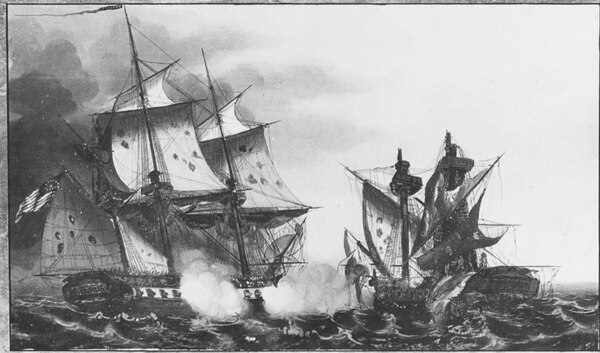 The Oct. 25, 1812, battle between the United States, commanded by Capt. Stephen Decatur, and the British warship Macedonian. The Macedonian was brought into Newport and repaired and later commissioned in the U.S. Navy. (U.S. Naval History and Heritage Command)