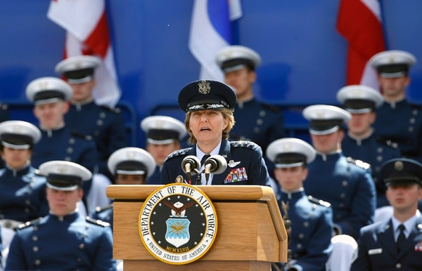 U.S. Air Force Academy Superintendent Lt. Gen. Michelle Johnson speaks during the graduation ceremony for the class of 2015, at the U.S. Air Force Academy, in Colorado Springs, Colo., Thursday, May 28, 2015. (AP Photo/Brennan Linsley)