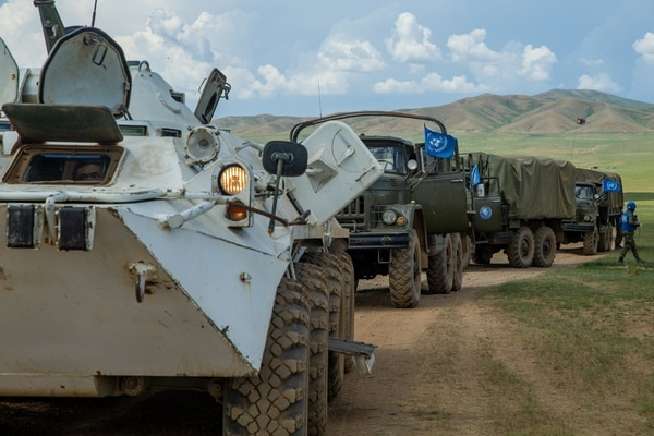 A mechanized convoy stops during convoy escort training for Khaan Quest 2019 at Five Hills Training Area, Ulaanbaatar, Mongolia June 23, 2019. Khaan Quest is a multinational exercise co-sponsored by U.S. Indo-Pacific Command and hosted annually by the Mongolian Armed Forces. (Lance Cpl. Kindo Go/Marine Corps)