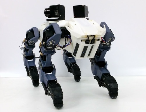 With legs that end in gripping hands, this robot can walk and then climb. (Tokyo Metropolitan University)