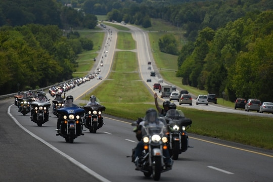 Participants in the 2016 American Legion Legacy Run ride through Alabama. (Lucas Carter/American Legion)