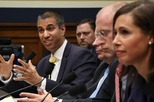 Federal Communication Commission Chairman Ajit Pai and commissioners Michael O'Rielly, Brendan Carr and Jessica Rosenworcel testify on Capitol Hill December 05, 2019 in Washington, DC. (Photo by Chip Somodevilla/Getty Images)