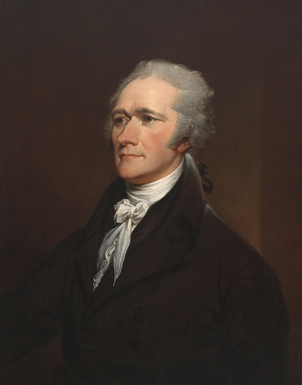 Alexander Hamilton 1757–1804 . (a portrait by John Trumbull after Giuseppe Ceracchi , oil on canvas, 1806, a gift of Henry Cabot Lodge now in the collections of the National Portrait Gallery)