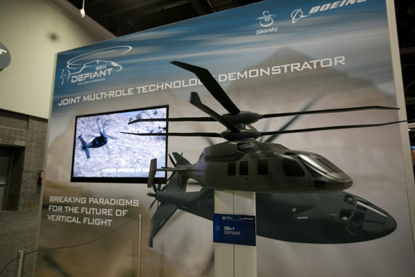A model of the Sikorsky SB-1 Defiant is on display at the annual Association of the US Army conference at Walter E. Washington Convention Center in Washington, D.C., on Monday, October 12, 2015.