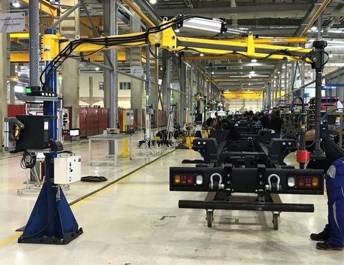 At the NIMR Automotive factory in Abu Dhabi, parts are delivered directly to the line site in sequence, eliminating inefficiencies such as time and labor spent retrieving parts from warehouses. (Puja Murgai/Staff)