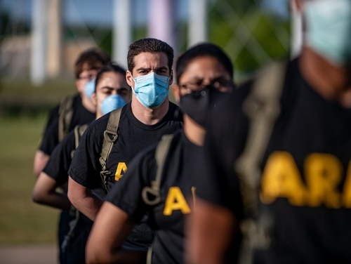 Soldiers stand in formation while wearing masks and maintaining physical distancing during reception before entering basic combat training May 14, 2020, on Fort Sill. (Sgt. Dustin D. Biven/Army)