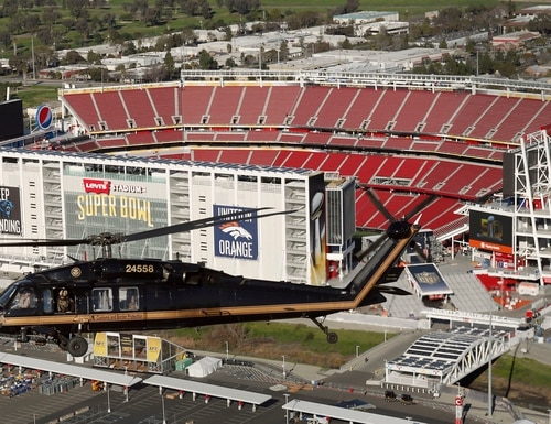A U.S. Customs and Border Protection Black Hawk helicopter flies over Levi's Stadium, the site of Super Bowl 50, in Santa Clara, Calif., Feb. 1, 2016. (U.S. Customs and Border Protection Photo by Glenn Fawcett)