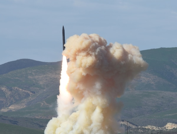 A long-range ground-based interceptor is launched from Vandenberg Air Force Base, California, Jan. 28, 2016. (Defense Department's Missile Defense Agency via AP)