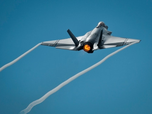 Thrilling videos of an F-35C Lightning II, like the one seen here at Eglin Air Force Base, show what appears to be limited catapult power tests from an aircraft carrier. (Samuel King Jr./Air Force)