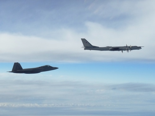 "Two NORAD F-22 ""Raptor"" fighter jets positively identified and intercepted two Russian Tu-95 ""Bear"" bombers on Sept. 11, 2018. (NORAD)"