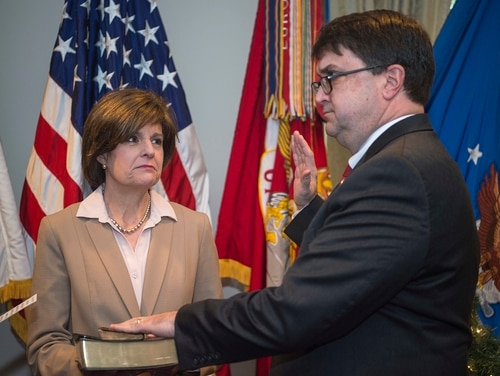 Robert Wilkie is sworn in as Under Secretary of Defense for Personnel and Readiness during a ceremony December 2017 ceremony at the Pentagon. Wilkie's assignment as acting Veterans Affairs secretary last week is bringing more disruption to the military personnel office. (Tech. Sgt. Brigitte N. Brantley/Air Force)