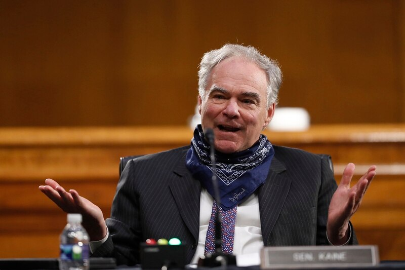 Sen. Tim Kaine, D-Va., speaks during a Senate Health Education Labor and Pensions Committee hearing on new coronavirus tests on Capitol Hill in Washington, Thursday, May 7, 2020. (Andrew Harnik/AP)