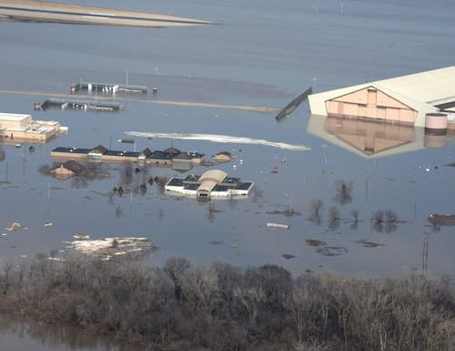 Arial photography of Offutt Air Force Base, Neb., taken March 17, 2019, shows part of the base under water after the Missouri River flooded. (Tech. Sgt. Rachelle Blake/U.S. Army)