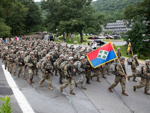 Members of the U.S. Military Academy Class of 2022 march at the end of Cadet Basic Training Aug. 13, 2018. (Matthew Moeller/Army)