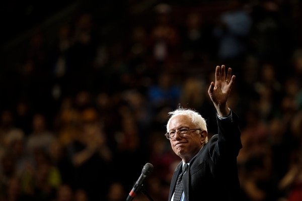 Democratic presidential candidate, Sen. Bernie Sanders, I-Vt., waves during a campaign stop on Sunday, March 13, 2016, at Ohio State University in Columbus, Ohio. (AP Photo/Matt Rourke)