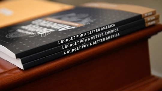 Copies of the fiscal 2020 budget sit in the the House Budget Committee room on March 11, 2019 on Capitol Hill. (Mandel Ngan/AFP)