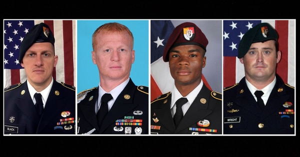 From left, Staff Sgt. Bryan Black, Sgt. 1st Class Jeremiah Johnson, Sgt. La David Johnson and Staff Sgt. Dustin Wright. All four were killed in Niger, when a joint patrol of American and Nigerien forces was ambushed on Oct. 4, 2017, by militants believed linked to the Islamic State group. (Army)