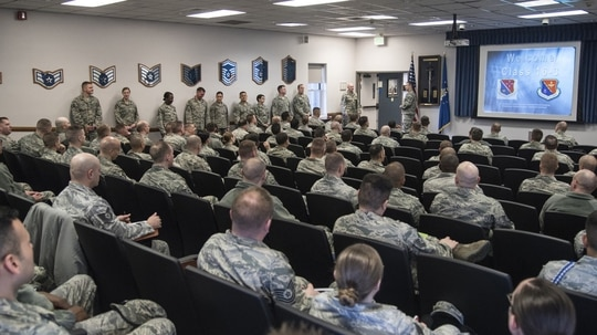 Noncommissioned Officer Academy instructors welcome the first students to attend the new Intermediate Learning Experience course at Peterson Air Force Base, Colo., March 9, 2016. The Air Force on April 26 announced that active-duty airmen will no longer be requred to finish the Course 14 and 15 distance learning courses before attending NCO or Senior NCO academies. (Staff Sgt. Tiffany DeNault/Air Force)