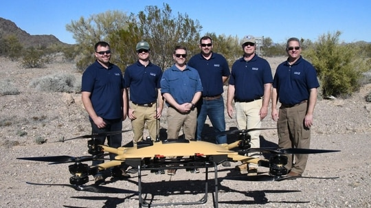 While resembling a quadcopter, the twin sets of rotors on each limb make the TRV-150 an octocopter with quadcopter-like aerodynamics. (US Navy)