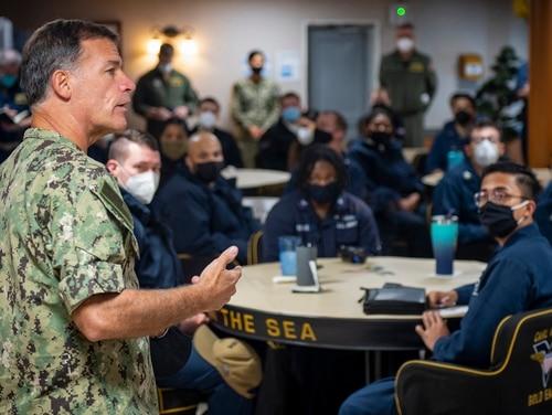 Adm. John Aquilino, commander of U.S. Pacific Fleet, speaks with sailors assigned to the USS Carl Vinson (CVN 70) on Feb. 8, 2021. (Mass Communication Spc. Seaman Apprentice Mason Congleton/U.S. Navy via AP)