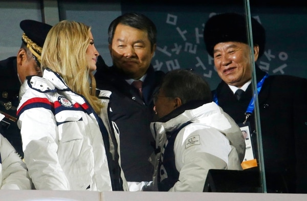 Ivanka Trump, left, U.S. President Donald Trump's daughter and Kim Yong Chol, vice chairman of North Korea's ruling Workers' Party Central Committee, right, attend the closing ceremony of the 2018 Winter Olympics in Pyeongchang, South Korea, Sunday, Feb. 25, 2018. (Natacha Pisarenko/AP)