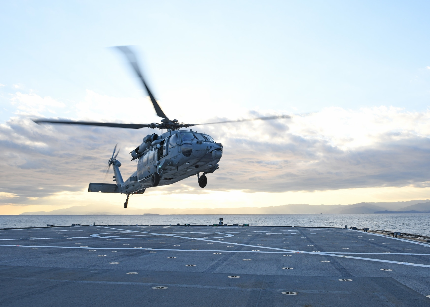 An MH-60S Sea Hawk launches from the flight deck of U.S. 7th Fleet flagship Blue Ridge. In the wake of the 2017 accidents, 7th Fleet ships were put on an O-FRP-like schedule. (MC2 Dylan McKay/Navy)