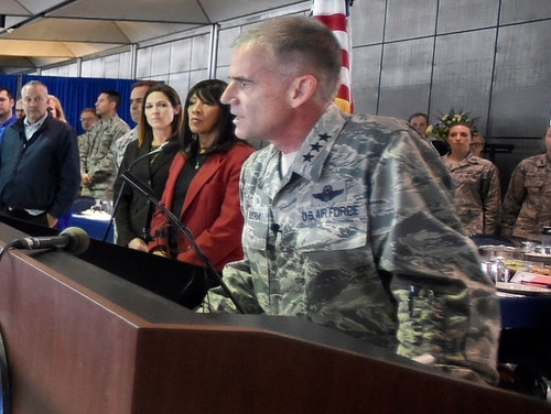 In this Sept. 29, 2017, file photo, academy superintendent Lt. Gen. Jay Silveria speaks about race relations to U.S. Air Force cadets during lunch at the Air Force Academy in Colorado Springs, Colo. (Jerilee Bennett/The Gazette via AP)