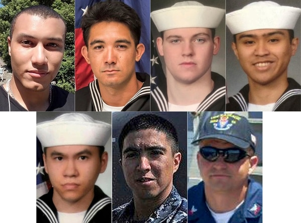 Seven sailors died aboard the warship Fitzgerald on June 7, 2017. They are, clockwise from top left, Personnel Specialist 1st Class Xavier Martin, Yeoman 3rd Class Shingo Douglass, Gunner's Mate Seaman Dakota Rigsby, Fire Controlman 1st Class Carlos Sibayan, Chief Fire Controlman Gary Rehm, Gunner's Mate 1st Class Noe Hernandez and Sonar Technician 3rd Class Tan Huynh. (Navy)