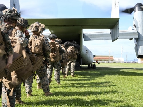 Marines board an MV-22 Osprey during an expeditionary advance base operation exercise at Camp Schwab, Okinawa, Japan, June 17, 2020. (Cpl. Donovan Massieperez/Marine Corps)
