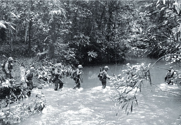 Raiders fighting retreating Japanese units also battled the island's dense jungles and rivers.