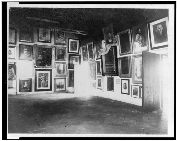 Works of art hanging on wall, in Columbus room, at World's Columbian Exposition, Chicago, Illinois, c1893. (Souvenir Photograph Co., Chicago, now in the collections of the Library of Congress)