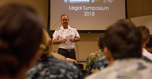 Chilean Navy Commodore Pablo Niemann, maritime component commander, from Valparaíso, Chile, addresses participants of a legal symposium held during Rim of the Pacific (RIMPAC) exercise, July 6. (MC2 Kelsey J. Hockenberger/Navy)